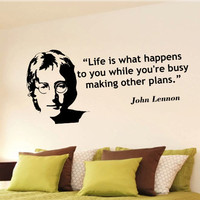 John Lennon life is what happens inspirational wall phrase word saying vinyl decal 33i