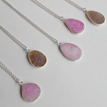Silver Druzy Necklace- Drusy Necklace- Gifts for Her- Stone Necklace- Gemstone Necklace- Gold Necklace- Necklace