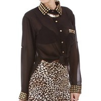 Black Studded Collar Blouse