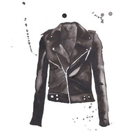 Motorcycle Jacket Watercolor Print | Waiting On Martha