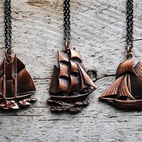 Sailboat Necklace  Vintage Copper Boat Charms  Free by sparklefarm