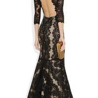 Alice + Olivia | Jae backless lace gown | NET-A-PORTER.COM