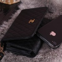 Black Card Wallet Leather Case Cover For Apple iphone 4 4S 4G