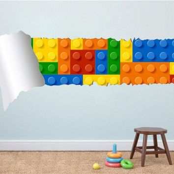 Lego Effect Style Torn Wall Stickers , 59.1 x 25.6 Inches | 150 x 65 cm