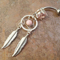 Pink Stone Dream Catcher Belly Button Ring
