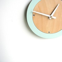 pale blue modern wall clock