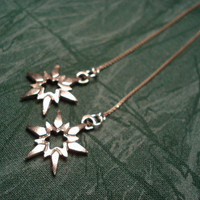 Pewter Stars on Silver Ear ThreadsFREE SHIPPING by LeasEarThreads