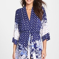 Women's In Bloom by Jonquil 'Bandana Border' Short Robe,