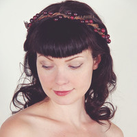 Woodland Wedding Head Piece - Bridal Crown of Burgundy Berries - Fall or Winter Wedding