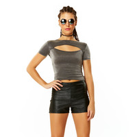 Space Case Silver Shimmer Spandex Short Sleeve T Shirt