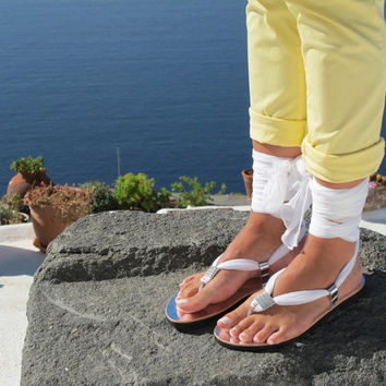 White Sandals with interchangeable silk scarf laces, Bridal sandals, Wedding flats Fully Customizable. Sophia 02. NEW.