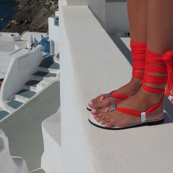Women Sandals with interchangeable silk scarf laces,red sandals, Fully Customizable. Sophia 06. NEW.