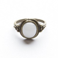 Golden White Stone Ring