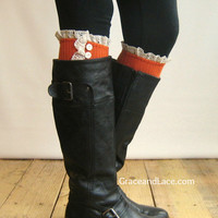 The Milly Lace -Tangerine Cable-knit Boot Socks w/ Ivory Lace Ruffle & buttons (item no. 5-20)