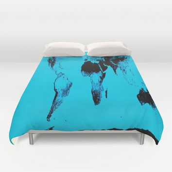 World Map Gall Peters Duvet Cover by 2sweet4words Designs