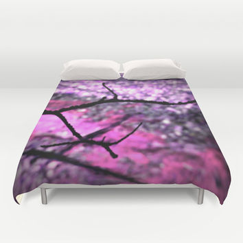 Peeking Through Pink & Purple Nature Duvet Cover by 2sweet4words Designs