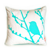 Mint Green Print on White Cotton Bird on Cherry Blossom - Mini 10.5 Inches Square Pillow