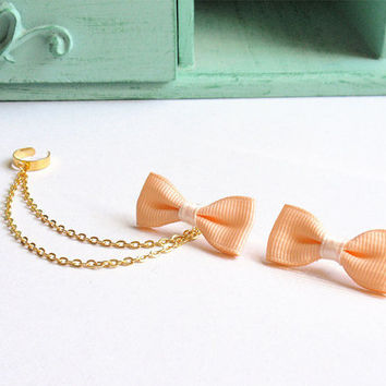 Peach Ribbon Bow Double Gold Chain Ear Cuff (Pair)