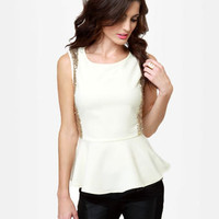 Cute Ivory Top - Peplum Top - Sequin Top