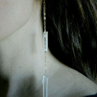 Double Quartz Gold Chain Earrings