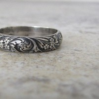 Antique Wedding Band Floral Pattern Ring Silver Floral Wedding Ring