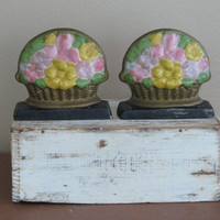 Vintage Bookends Door Stops Chalkware Plaster by outofdoha2010