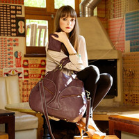 Glorianne overnight travel bag. Handmade real leather. Deep wine burgundy leather.