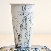 ready to ship - Eco-Friendly  Painted Ceramic Travel Mug - Birch Trees