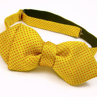 Golden Yellow & Orange Club Bat Silk Bow Tie - 'Microdot II'