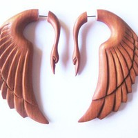 ON SALE Stunning rose wood swan fake gauge earrings by shayisa