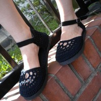 The All Blacks Crochet Mary Janes with  Suede by soleilduautomne