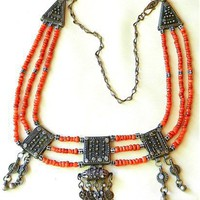 Old Yemen Silver and Coral Bridal Dowry Necklace with Filigree Amulet