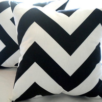 Designer Black and white Large chevron pillow cover 18 x 18