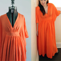 Electric Orange Nightgown -Butterfly Sleeves - by Miss Elaine - 1970s