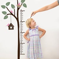 Kids Growth Chart Decal Decor for bedroom, playroom, Nursery vinyl wall art Tree with Birds