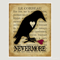 Le Corbeau, 8x10 print, the raven, nevermore, Poe, Halloween, macabre, goth art