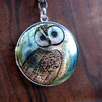 Silver Wise Owl Locket Necklace  Enamel by ArtInspiredGifts