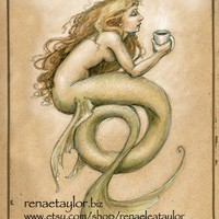 Coffee Mermaid11x14matted by renaeleataylor on Etsy