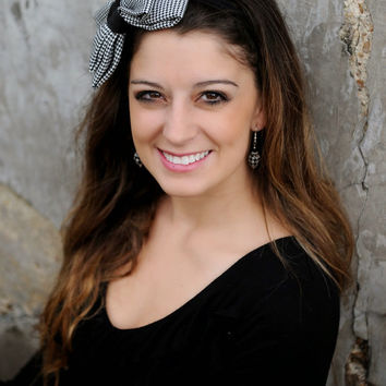 Houndstooth Headband, Houndstooth Dior Bow, Black White Headband, Houndstooth Bow, Black White Bow, Cottage Chic, Fashion for Her
