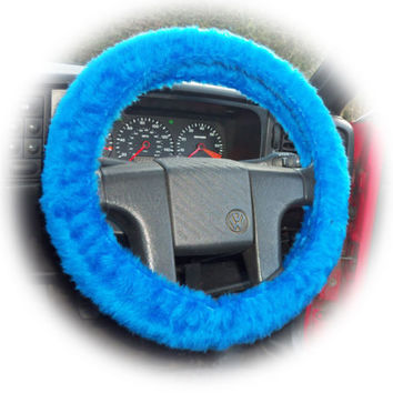 Royal Blue fluffy furry fuzzy car steering wheel cover Cobalt