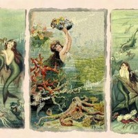 Three 3 Mermaids Prints Sea Sirens OceaN ReTRo by DragonflyCove