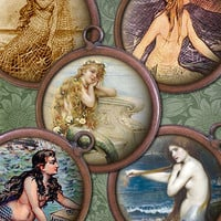 Vintage Mermaids  1 inch Circles  Digital by steamduststudios