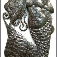 Large Handcrafted Mermaid Wall Decor  Created in by HaitianMetal