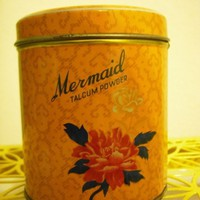 Vintage Orange Mermaid Brand Tin with Talcum by NaughtySecretary