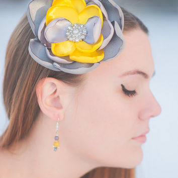 Grey Flower Clip, Yellow Flower Clip, Yellow Grey Flower, Satin Flower Clip, Large Flower,  Hand Singed, Womens Fashion, Gifts for Her