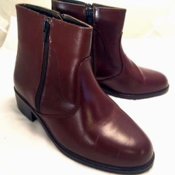 Women's D. Orking Shoe Leather Brown Fashion Heel Ankle Boot Zip up Size 6