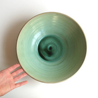 large ceramic bowl - glazed pottery - wheel thrown bowl - mint mat bowl - boho decor - ready to ship