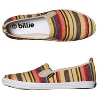 BILLIE SHOES WOMENS CRUISER PLATINUM SLIP ON SHOE - SAND WOVEN STRIPE