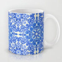 Cobalt Blue & China White Folk Art Pattern Mug by Micklyn