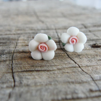 White Porcelain Earrings Floral Stud post Earrings